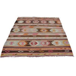 Vintage Turkish Kilim Rug - 5′6″ × 7′3″