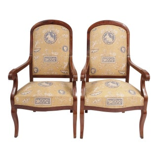 Pair of Louis Phillipe Chairs in Toile
