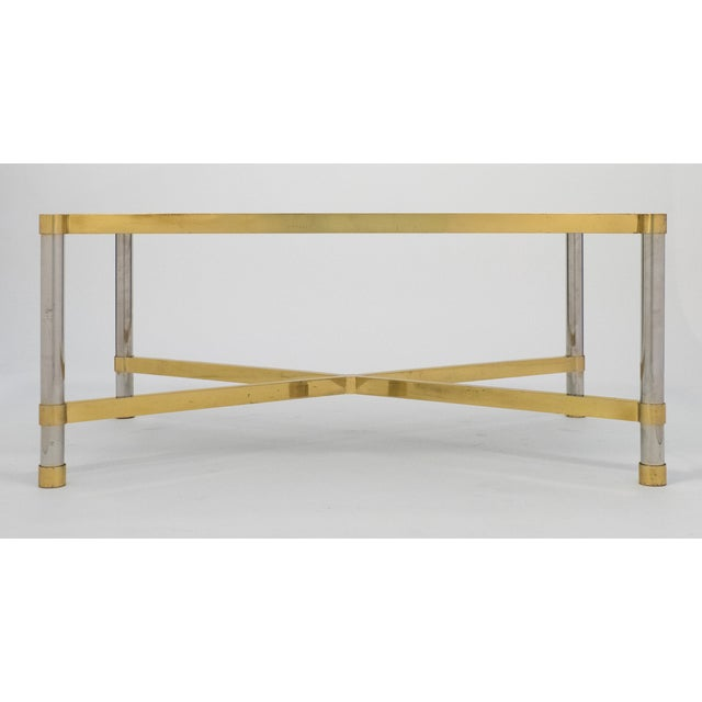 French Vintage Chrome And Brass Coffee Table