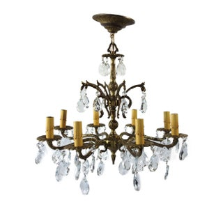 French Brass and Crystal 8 Light Chandelier
