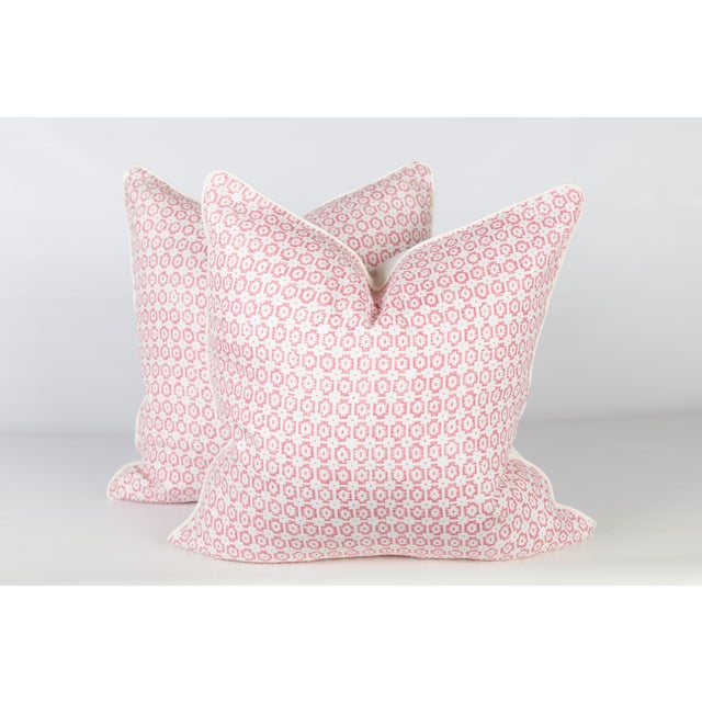 Custom Pink & Ivory Linen Ogee Pillows - A Pair - Image 5 of 5