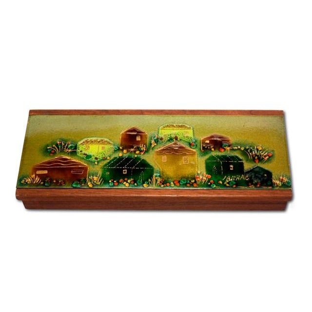 Sascha Brastoff Wood Box with Enamel Cover - Image 1 of 4