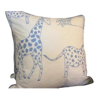 Schumacher Jungle Jubilee Pillows in Sky Blue - a Pair