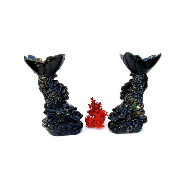 Image of Asian Dragon Koi Figural Vases - A Pair