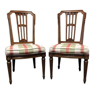 HENREDON Capri Mid Century Italian Provincial Neoclassical Dining Side Chairs - a Pair