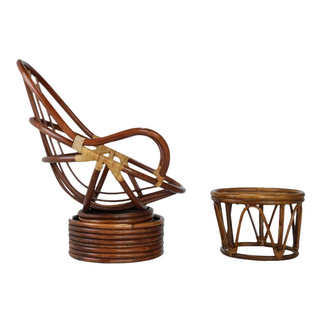 Mid-Century Swivel Rattan Bamboo Pod Chair & Ottoman - Image 1 of 6