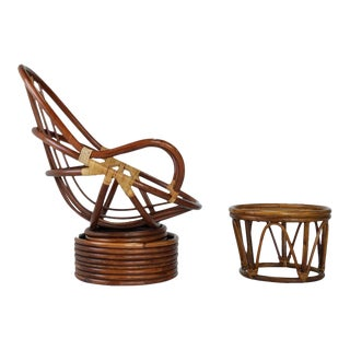 Mid-Century Rattan Bamboo Pod Chair & Ottoman - A Pair