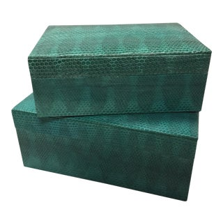 Turquoise Sea Snake Skin Nesting Boxes - a Pair