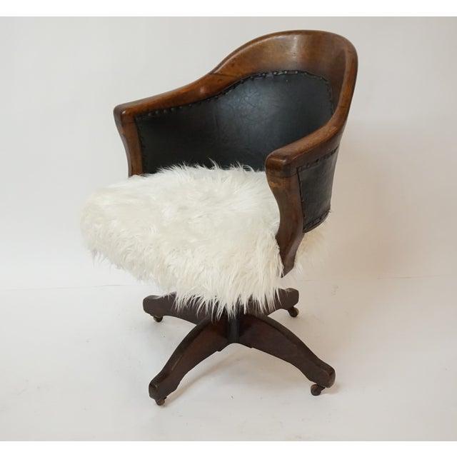 Antique Oak Bankers Swivel Chair With Mongolian Fur Chairish