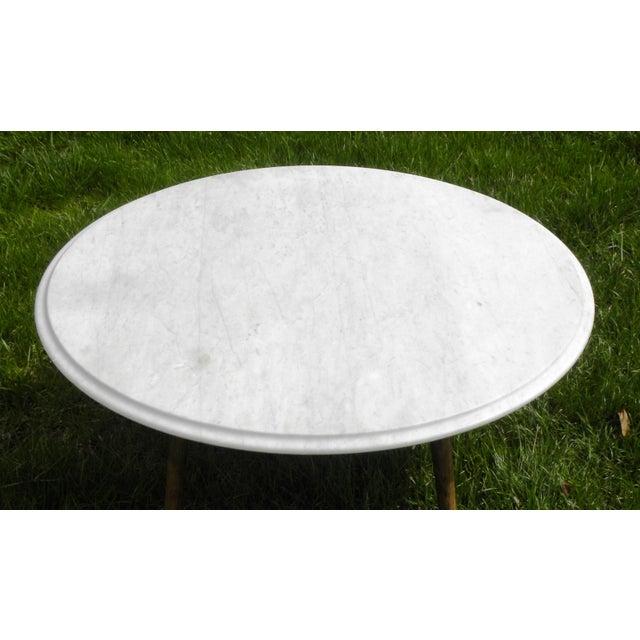 Stellar White Marble Coffee Table: Vintage Mid-Century Modern Round White Marble Coffee Table