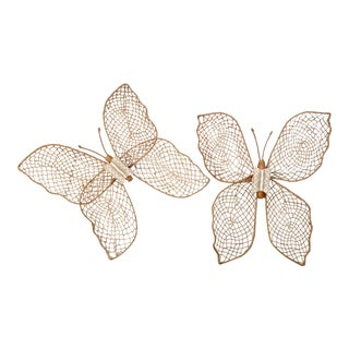Vintage Rattan Butterflies - A Pair