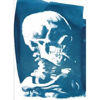 Van Gogh Skull With Cigarette Cyanotype Print