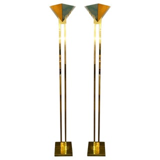 Pair of Brass and Lucite Torchiere Floor Lamps by Sonneman for Kovacs
