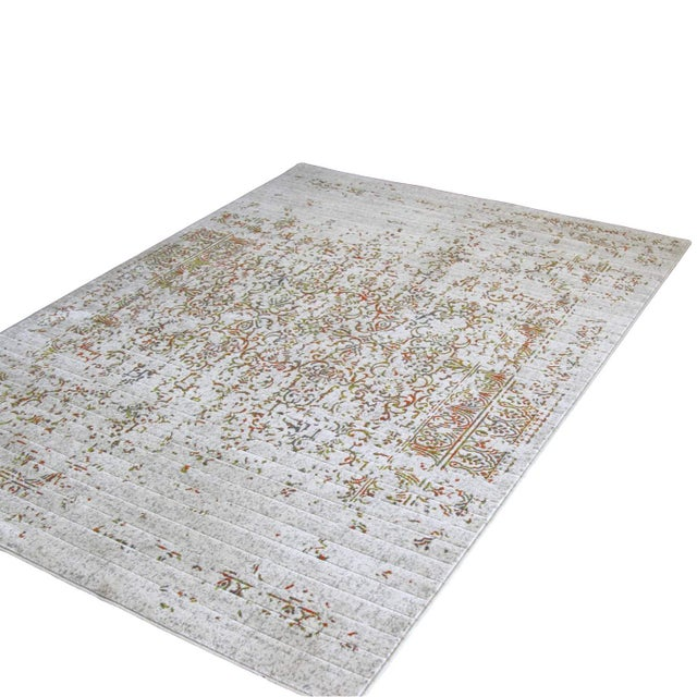 "Distressed Turkish Green Orange Rug - 8' x 10'7"" - Image 3 of 4"