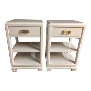 Rway White Lacquer Greek Key Ming Nightstands - a Pair