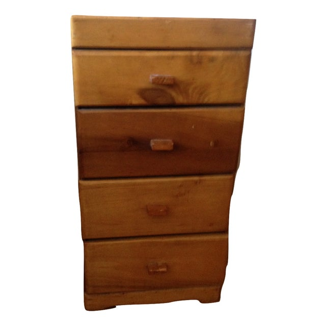 Image of Vintage Wood Side Table With Drawers
