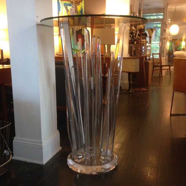 Haziza Rock Bar Lucite Crystal Table - Image 4 of 11