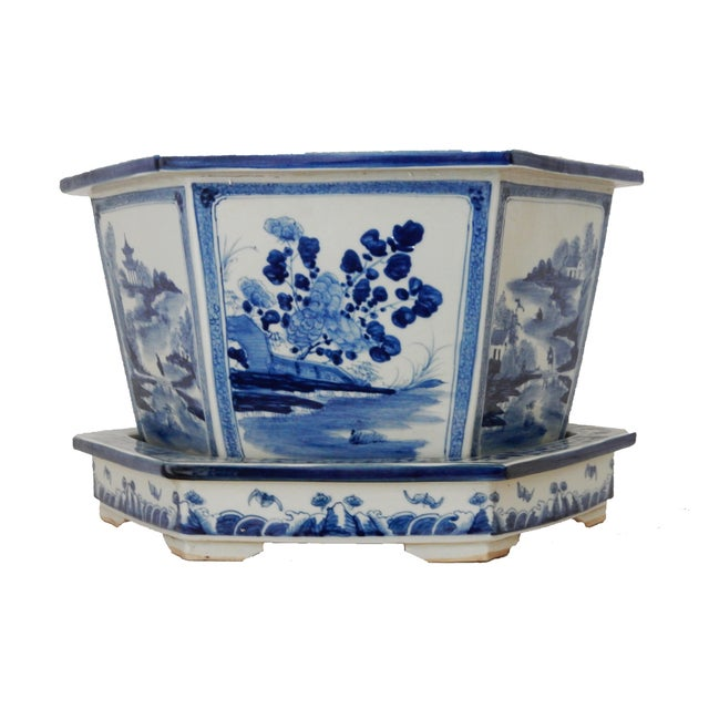 Blue & White Hexagonal Jardiniere - Image 4 of 8