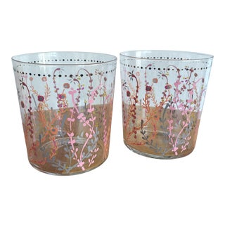 Floral Cocktail Glasses - A Pair