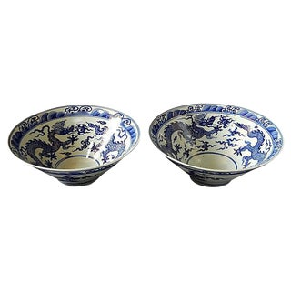 Blue & White LG Shaped Dragon Bowls, Pr