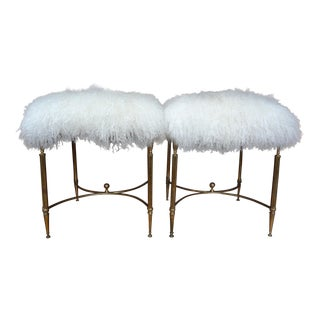 Italian Brass Chiavari Ottomans or Stools - a Pair
