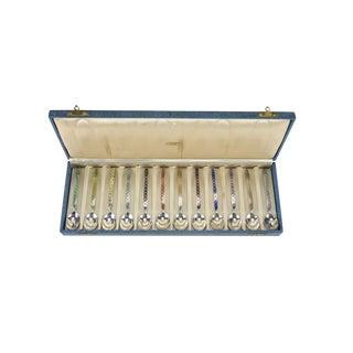 Holland Sterling Silver & Enamel Demitasse Spoons in Box - Set of 12