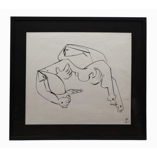 Framed Original Jacques Chauvin Abstract Line Drawing