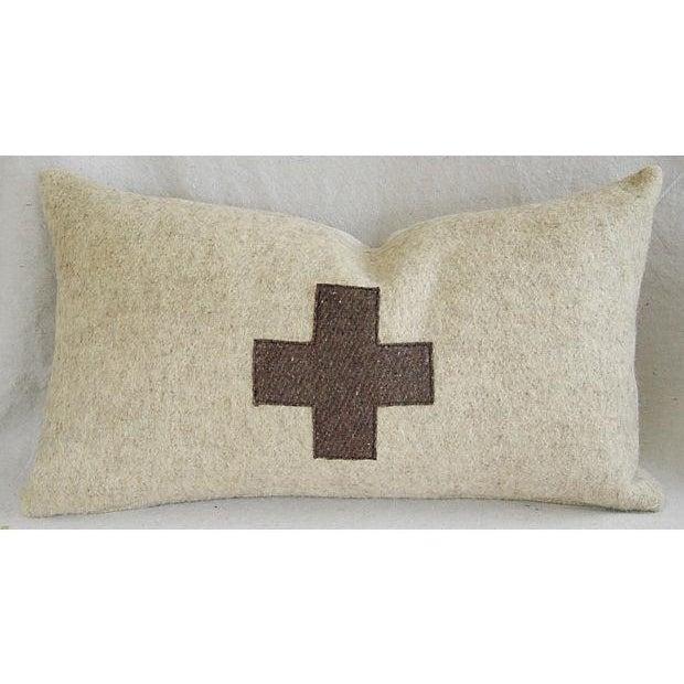 Image of Vintage Custom Swiss Wool Appliqué Cross Pillow