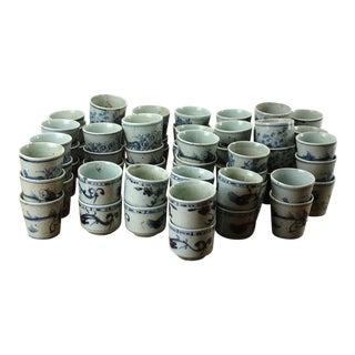 Sarreid Ltd. Vintage Blue & White Cups - 64 Pieces