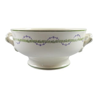 French Longwy Handled Serving Bowl