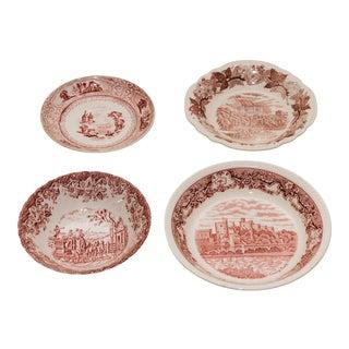 Vintage Red & White Transferware Plates - Set of 4