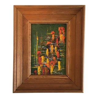 Signed Vintage Abstract Painting of Monks