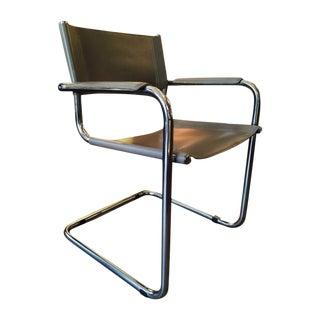 Italian Smoky Grey Leather Sling Chrome Chair