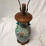 Image of Antique Japanese Porcelain & Wood Lamp