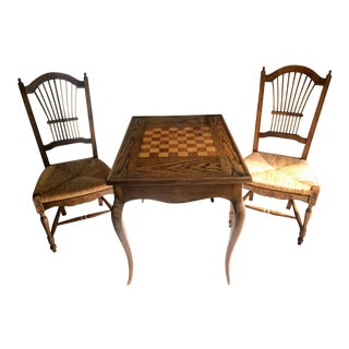 Vintage French Style Game Table & Rush Seat Chairs