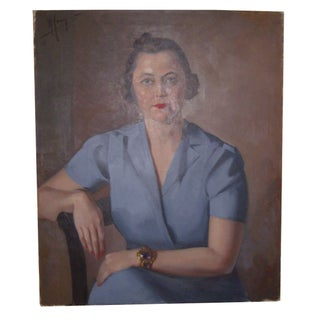 Vintage Estate Female Portrait - Oil on Canvas