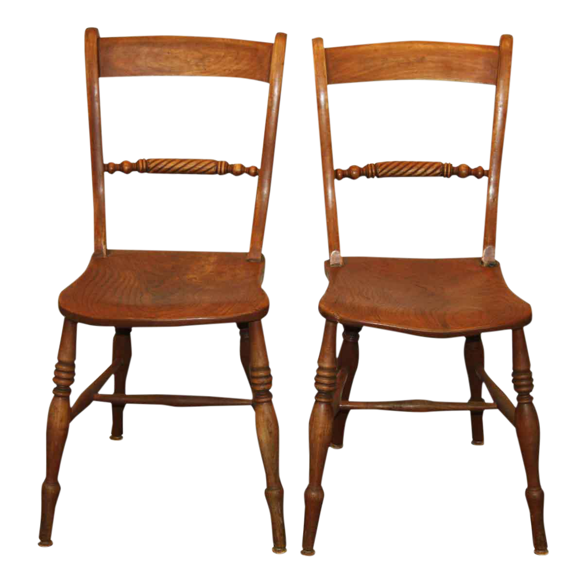 antique spindle rope design wooden dining chairs a pair