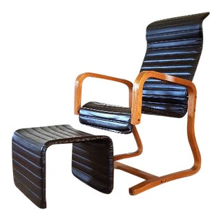 Thonet Mid-Century Lounge Chair & Ottoman - A Pair