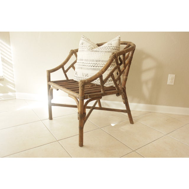 Image of Rattan Chippendale Barrel Armchair