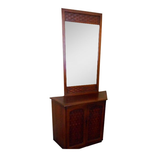 Image of Mid-Century Lane Console Table With Mirror