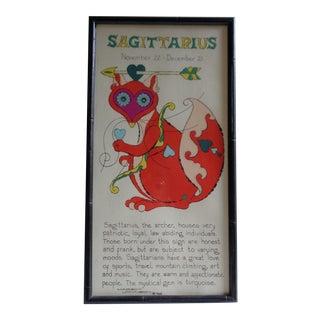 1960s Sagittarius November Birthday Psychedelic Colors Zodiac Poster