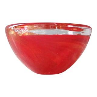 Anna Ehrner Kosta Boda Atoll Red Glass Swirl Candle Holder