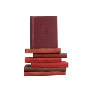 Burgundy Classic Hardback Books - Set of 7
