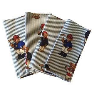 Vintage Ralph Lauren Bear Napkins - Set of 4
