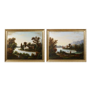 PAIR OF LANDSCAPE PAINTINGS DEPICTING A VIEW OF A LAKE WITH SAILBOATS, FIGURES AND HOMESTEADS