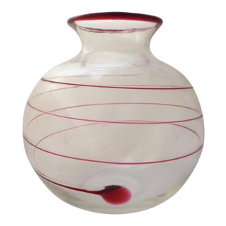 1960s Vintage Cranberry Swirl Art Glass Vase