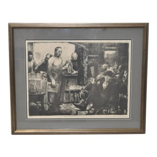 """George Bellows """"Artists Judging Works of Art"""" Lithograph c.1916"""