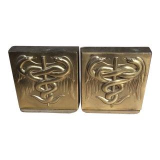 PM Craftsman Solid Brass Caduceus Bookends - A Pair