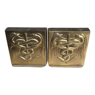 PM Craftsman Solid Brass Caduceus Bookends - A Pair