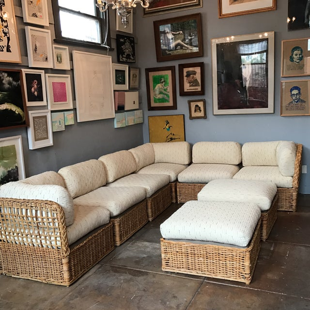 Vintage Rattan Sectional Sofa Set - Image 3 of 11